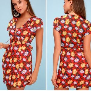 The Fifth Label Unite Coral Red Floral Print Dress